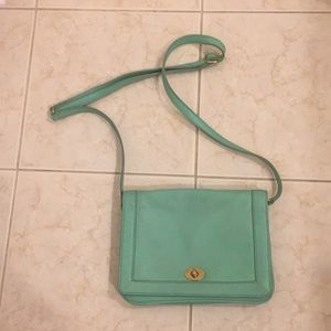 J crew mint green leather hand bag